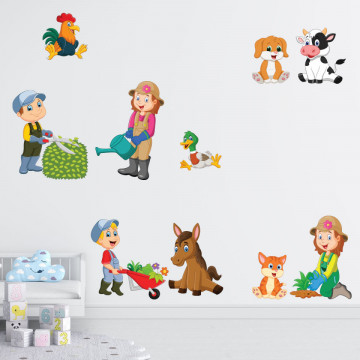 Set stickere decorative perete copii - Ferma14, 60x90cm