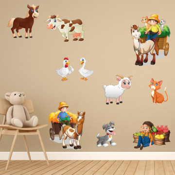 Set stickere decorative perete copii - Ferma3, 60x90cm