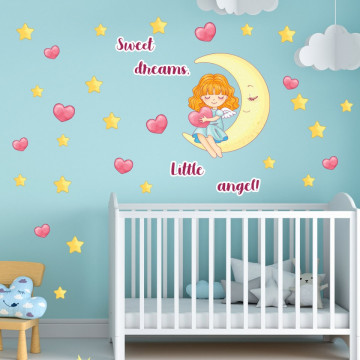 Set stickere decorative perete copii - Ingerasul pe luna 60x90