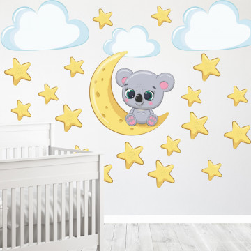 Set stickere decorative perete copii - Koala pe luna, 60x60 cm
