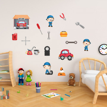 Set stickere decorative perete copii - Mecanicii auto 60x90