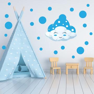 Set stickere decorative perete copii - Norisorul albastru, 60x60cm