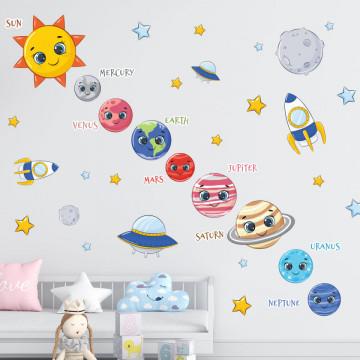 Set stickere decorative perete copii - Sistemul Solar, 60x90cm