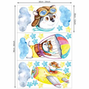 Set stickere decorative perete copii Soricelul cu Avioane - 60x90
