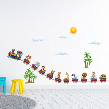 Set stickere decorative perete copii - Trenuletul animalelor , 60x90 cm