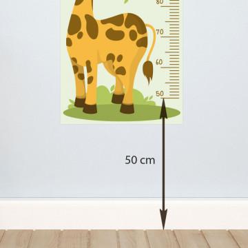 Sticker perete Masurator pentru copii - Girafa, 40x120 cm