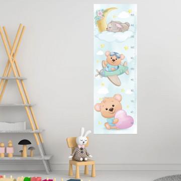 Sticker perete Masurator pentru copii - Ursuletul cu avion, 40x120 cm