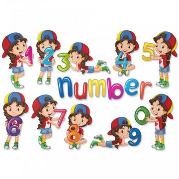 Stickere Educationale copii - Numerele cu Fetita, set 30x40cm