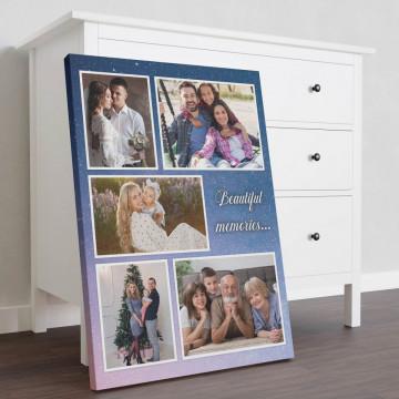 Tablou Canvas personalizat cu 5 poze si mesaj