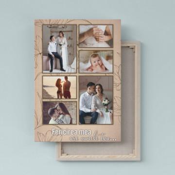Tablou Canvas personalizat cu 6 poze si mesaj