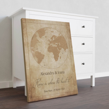 """Tablou Canvas personalizat """"Harta Stelelor"""" - Home is where the heart is"""