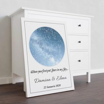 "Tablou Canvas personalizat ""Harta Stelelor"" - When you first put stars in my sky"