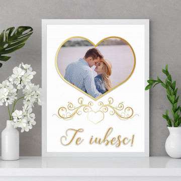 Tablou personalizat cu o poza in forma de inima si mesaj