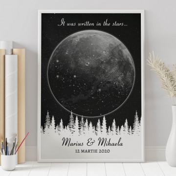 Tablou personalizat Harta Stelelor - Luna peste padure