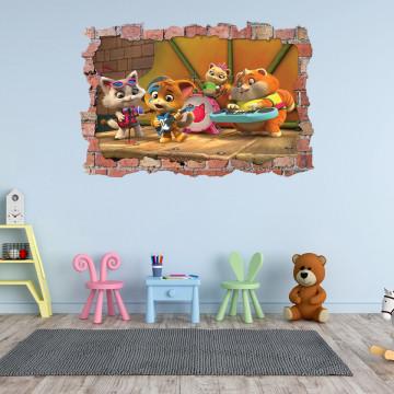 3D Sticker perete 60x90cm - 44 de Pisici