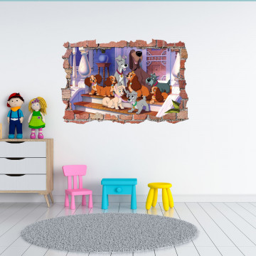 3D Sticker perete 60x90cm -Doamna si vagabontul