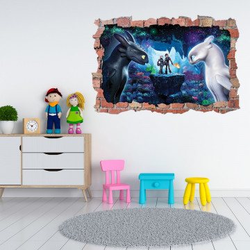 3D Sticker perete 60x90cm - How to train your Dragon4