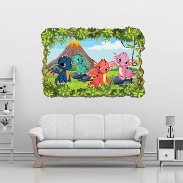 3D Sticker perete - Dragonii