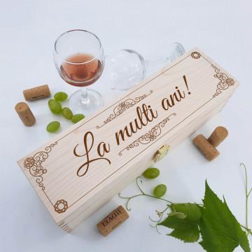 Cutie vin personalizata - La multi ani!