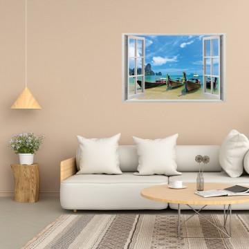 Fereastra 3D, Sticker perete - Peisaj cu barci la malul marii