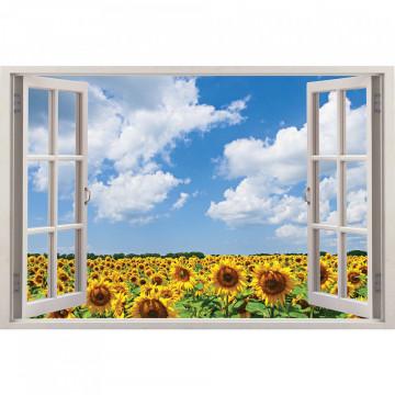 Fereastra 3D, Sticker perete - Peisaj cu floarea-soarelui