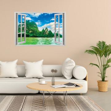 Fereastra 3D, Sticker perete - Peisaj cu munte si ocean