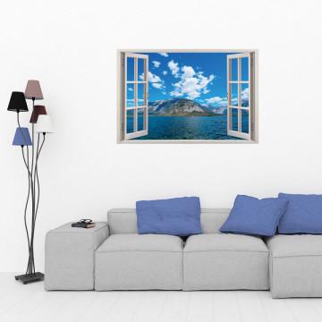 Fereastra 3D, Sticker perete - Peisaj cu ocean si munte