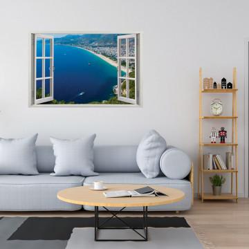 Fereastra 3D, Sticker perete - Peisaj cu oras la malul marii