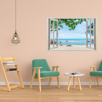 Fereastra 3D, Sticker perete - Peisaj cu plaja si ocean