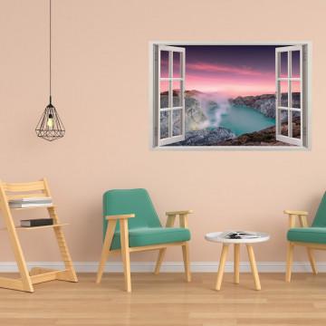 Fereastra 3D, Sticker perete - Peisaj cu un lac in munte