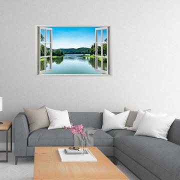 Fereastra 3D, Sticker perete - Peisaj cu un lac