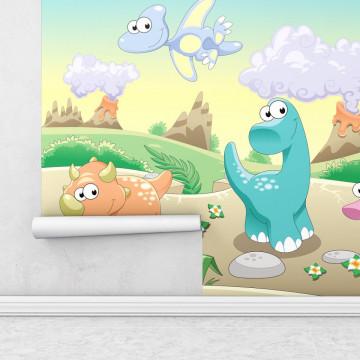 Fototapet autoadeziv copii - Dinozaurii prietenosi