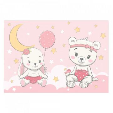 Fototapet autoadeziv copii - Ursuletul si Iepurasul pe nori roz