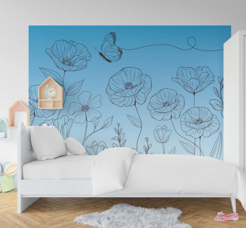 Fototapet autoadeziv - Fluturasul si floricele