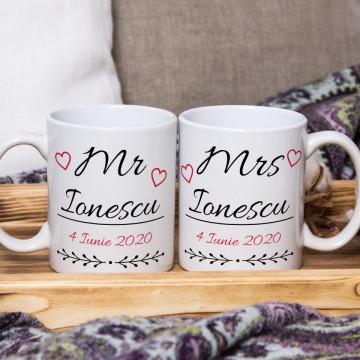 Set 2 cani personalizate cu nume si data - Mr & Mrs