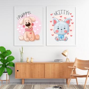 Set 2 tablouri - Catelusul & Pisicuta