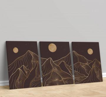 Set 3 Tablouri Canvas, Golden moon