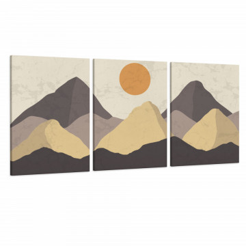 Set 3 Tablouri Canvas, Luna printre munti