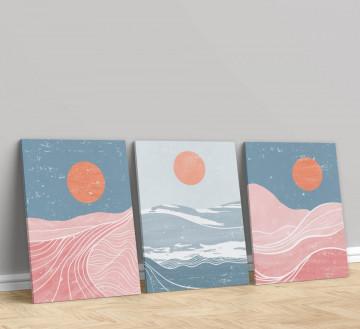 Set 3 Tablouri Canvas, The sun