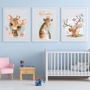 Set 3 tablouri - Girafa cu puiul
