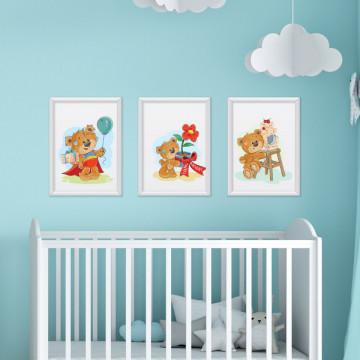 Set 3 tablouri - Ursuletii cu daruri