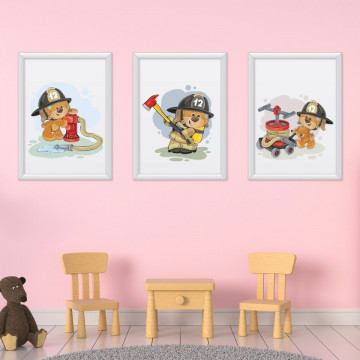 Set 3 tablouri - Ursuletii Pompieri