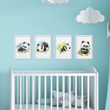 Set 4 tablouri - Ursuletii Panda