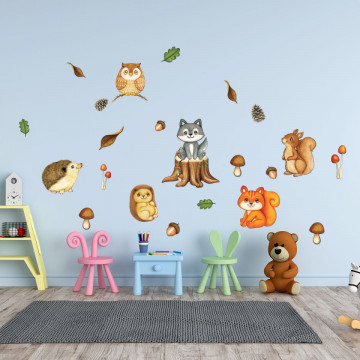 Set stickere decorative perete copii - Animale in Padure2 , 60x90cm