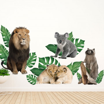 Set stickere decorative perete copii - Animalele Junglei6 , 60x90cm