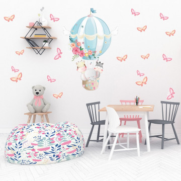 Set stickere decorative perete copii - Balon cu Fluturasi