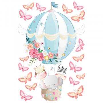 Set stickere decorative perete copii - Balon cu Fluturasi
