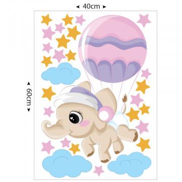 Set stickere decorative perete copii - Elefantul cu balon 40x60