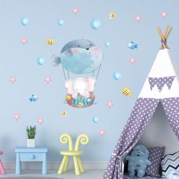 Set stickere decorative perete copii - Elefantul cu pestele balon 40x60