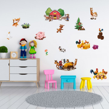 Set stickere decorative perete copii - Ferma23, 60x90cm